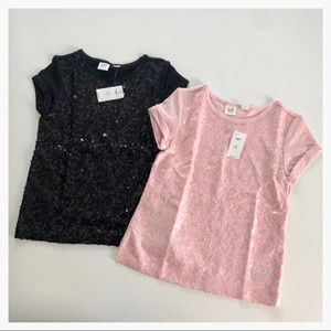 S 6-7Y Black & Pink sequin tee bundle